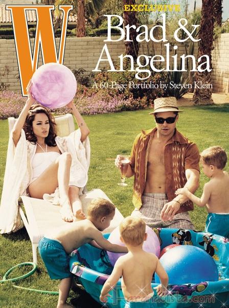 Brad fotografio a Ange y sus hijos para W magazine