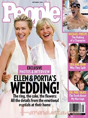 Primera foto de la boda de Ellen y Portia en People
