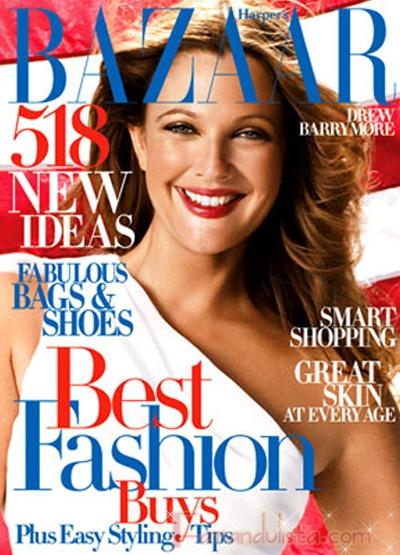 Drew Barrymore en Harpers Bazaar magazine