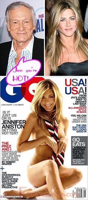 Hefner impresionado por el desnudo de Jenn Aniston para GQ
