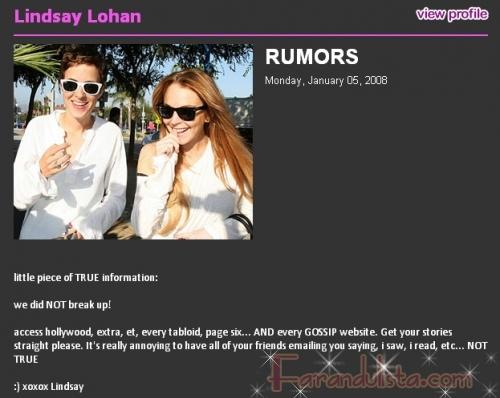 Lindsay Lohan desmiente rumores de ruptura