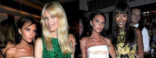 Victoria Beckham con Claudia y Naomi en el London Fashion week