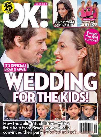 OK! El chiste de la semana: Angelina y Brad se casan! Awwww... BS!