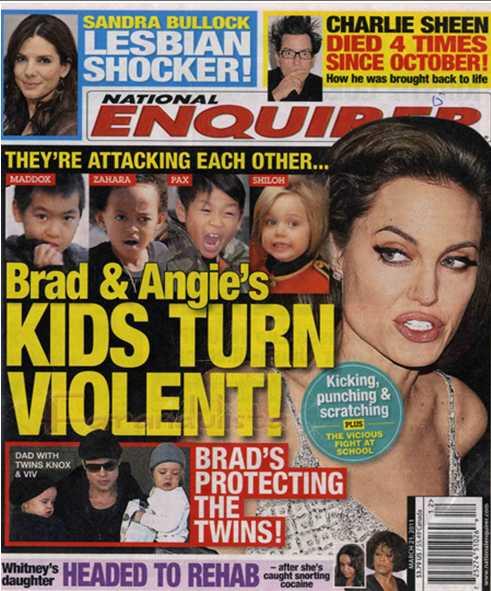 Los hijos de Brad & Angie se vuelven violentos - Enquirer - LMAO!!!