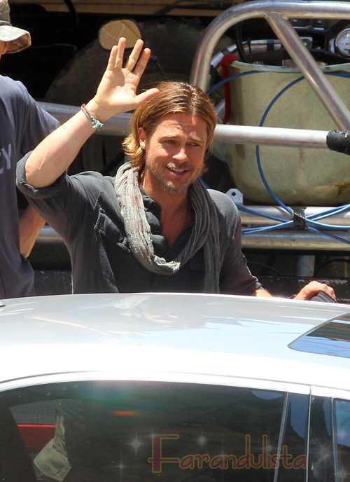 Brad Pitt en el set de World War Z en Malta