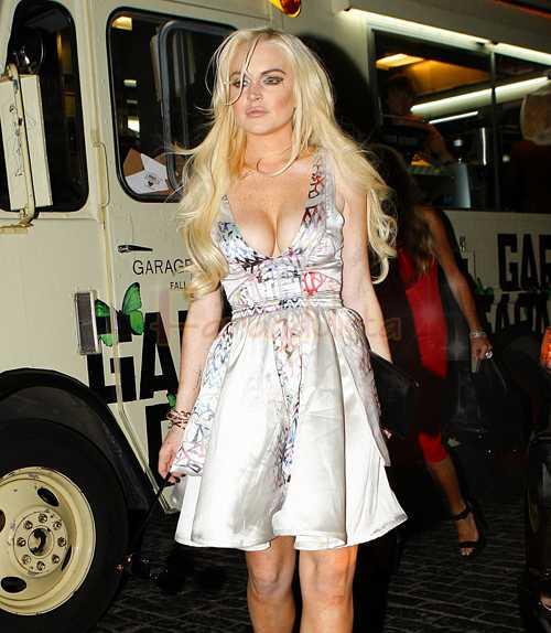 Lindsay Lohan fuera de la after-party de Marc Jacobs