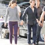 Katie Holmes y Tom Cruise en el set de 'One Shot'