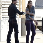 Katie Holmes y Tom Cruise en el set de 'One Shot'