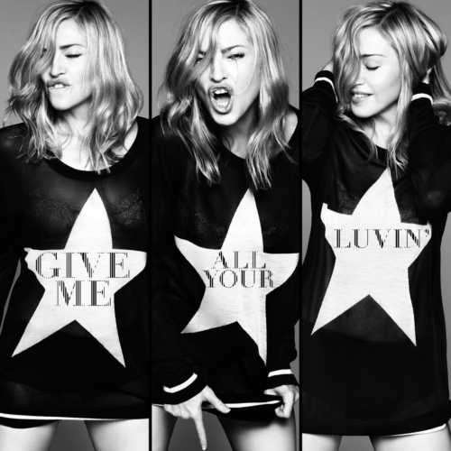 "Madonna en el single cover de ""Give Me all your Luvin"" - MDNA"