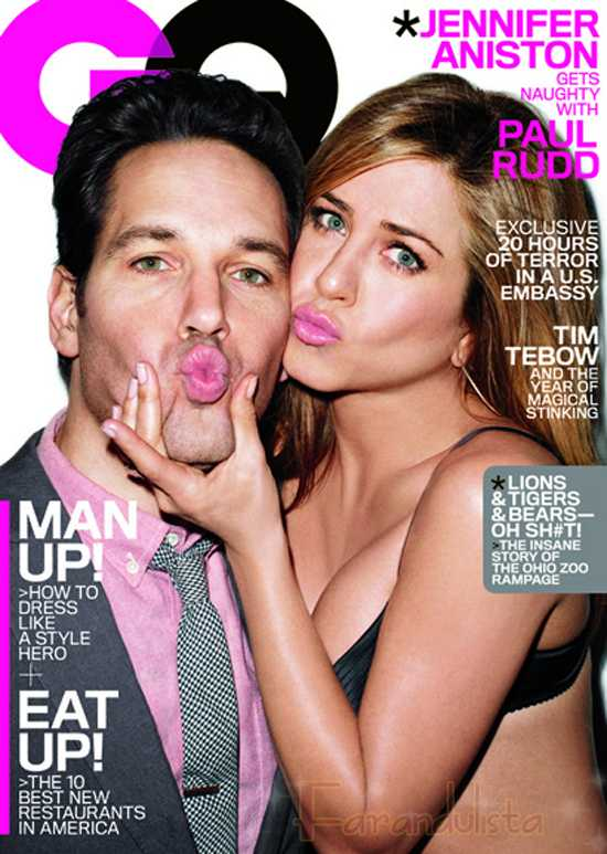 Jennifer Aniston y Paul Rudd en GQ magazine