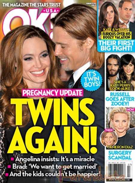 Angelina Jolie y Brad Pitt embarazados de gemelos again! [OK magazine]