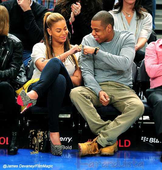Beyonce & Jay-Z en el juego de los Nicks