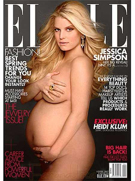 Jessica Simpson embarazada y desnuda en Elle Magazine