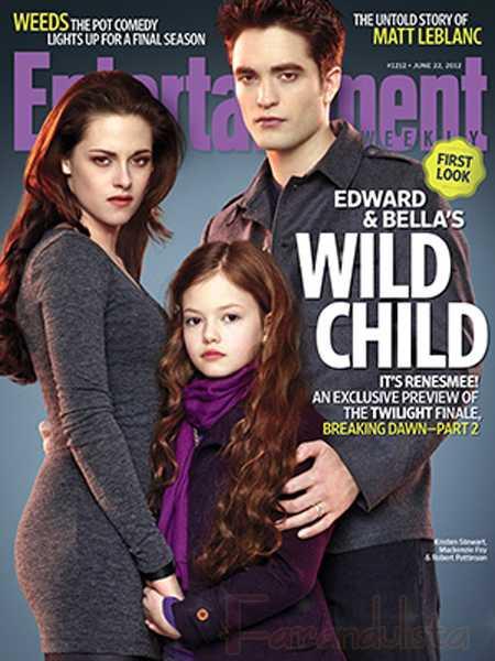 Bella, Edward y su hija Renesmee en la portada de EW