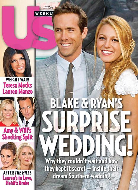 La boda de Ryan Reynolds y Blake Lively en las portadas