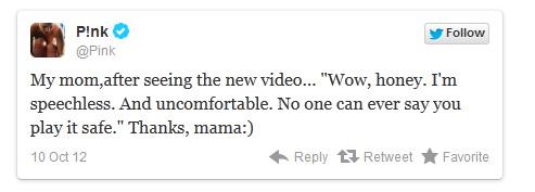 El nuevo Video de Pink, Try dejó a su madre sin habla