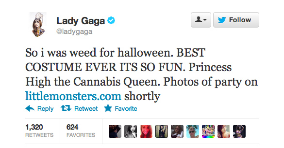 Lady Gaga se disfrazó de Cannabis Queen