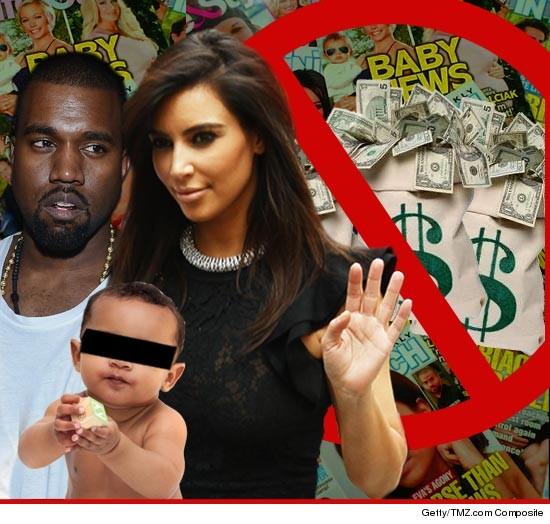 Kim Kardashian y Kanye West rechazan oferta para las fotos de su baby