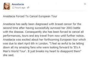 Anastacia es diagnosticada con Cancer de Seno por segunda vez