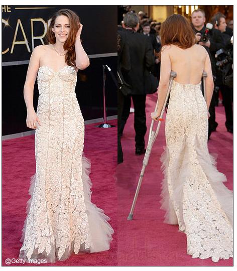 Kristen Stewart llevó muletas a los Oscars - Why?