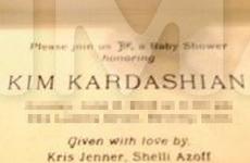 Vean la invitación al Baby Shower de Kim Kardashian