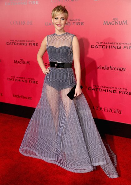 Jennifer Lawrence en la premier de Catching Fire