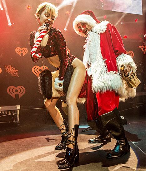 Miley Cyrus twerking con Santa ebrio... wtf?