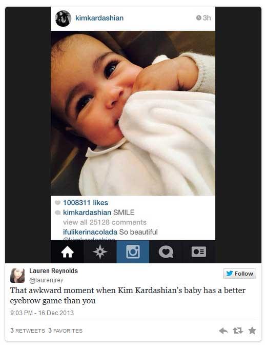 Kim Kardashian depiló las cejas de su baby North West? WTF???