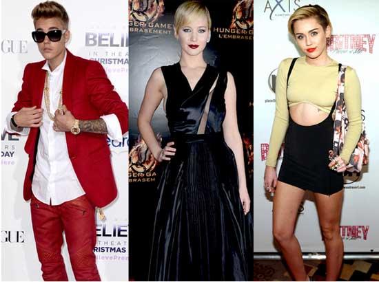 Jennifer Lawrence, Justin Bieber y Miley Cyrus: exitosos menores de 30