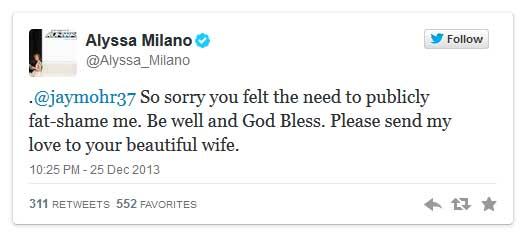 Jay Mohr se burla de Alyssa Milano, ella le contesta - UPDATE!