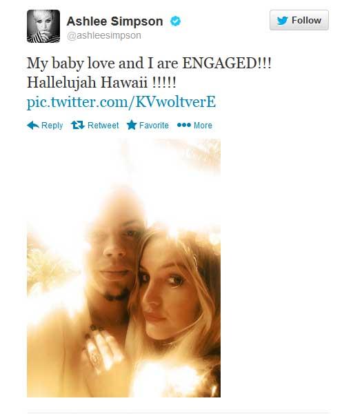 Ashlee Simpson comprometida con Evan Ross