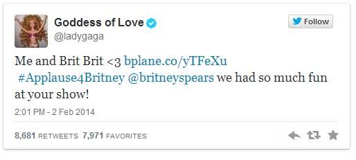 Lady Gaga asiste al show de Britney en Las Vegas