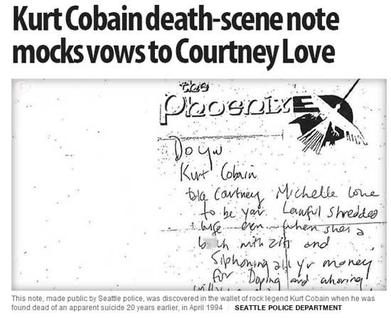 La policia revela nota de Kurt Cobain