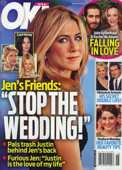 Jennifer Aniston embarazada, detiene la boda [InTouch - OK!]