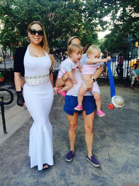 Mariah Carey y sus gemelos en el parque