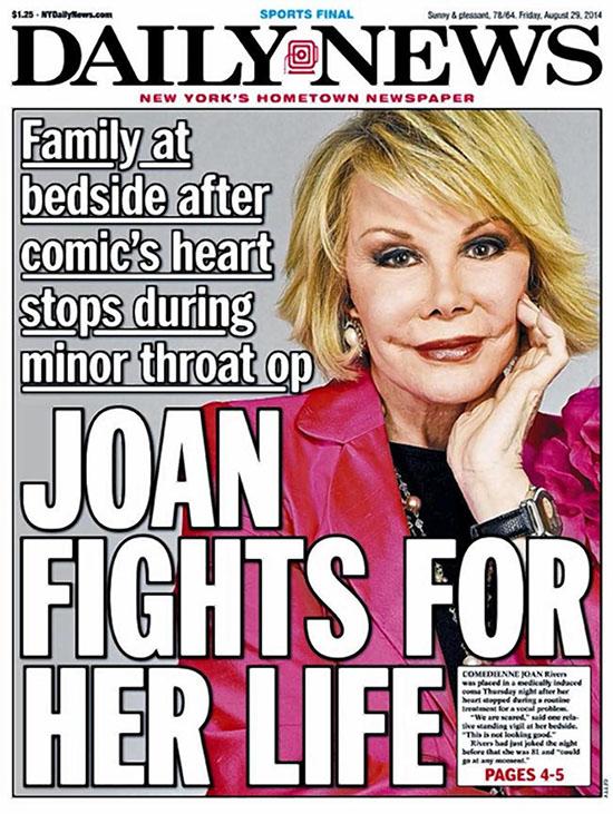 Cancelan grabaciones de Fashion Police! Joan Rivers permanece grave