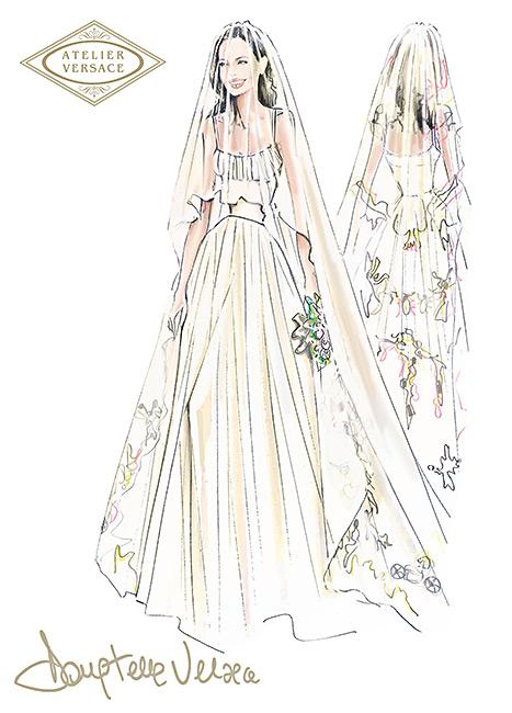 Donatella Versace diseñó el Vestido de Novia de Angelina Jolie