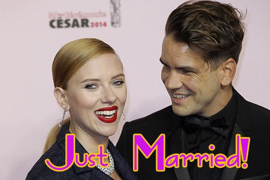Scarlett Johansson se casó con Romain Dauriac