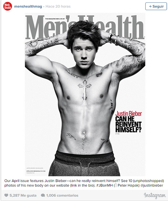 Justin Bieber en Men's Health - PHOTOSHOPPED?