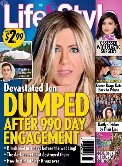 Jennifer Aniston abandonada a los 990 dias de su compromiso