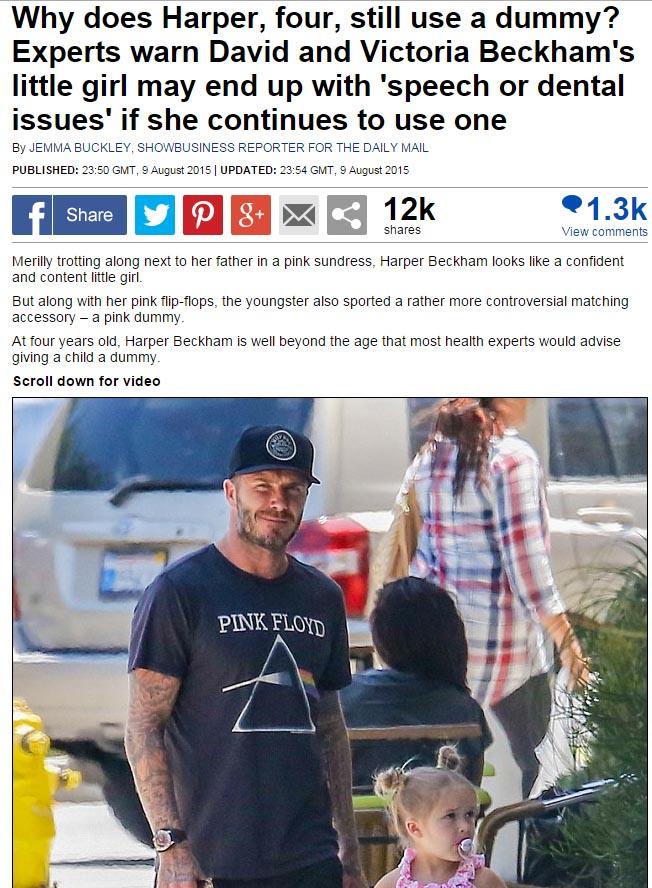 David Beckham defiende el chupete de Harper