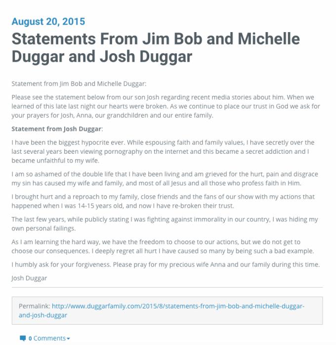 """""""19 y Contando"""", Josh Duggar admite infidelidad a su esposa"""