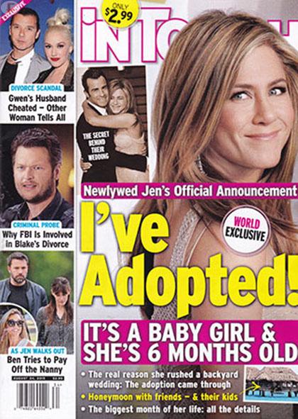 Jen Aniston adoptó a una niña [InTouch]