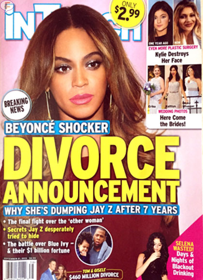 Shock! Beyonce y Jay Z se divorcian [ InTouch]