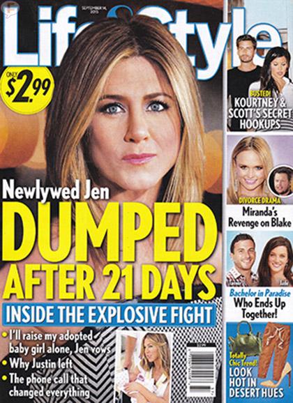 Justin Theroux ya botó a Jennifer Aniston [Life&Style]