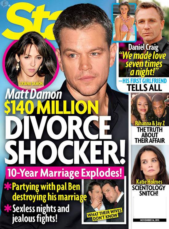 Matt Damon se divorcia de Luciana!! [Star]