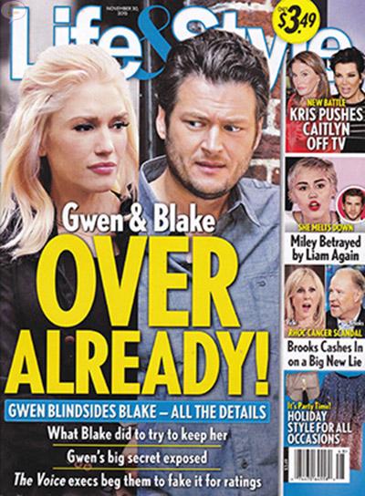 Gwen Stefani & Blake Shelton ya terminaron [Life&Style]