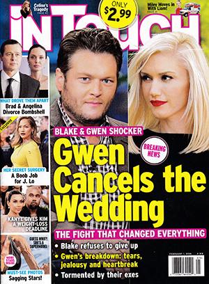 Gwen Stefani cancela la boda! [Intouch]