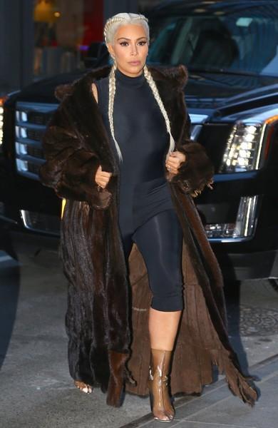 kim kardashian blond hair fur coat