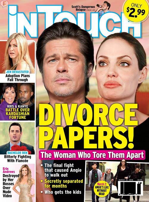 Angelina Jolie y Brad Pitt: papeles de divorcio [InTouch]
